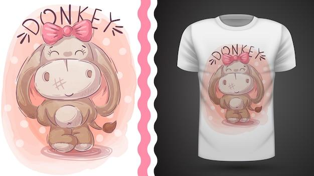Burro bonito, ideia para impressão t-shirt Vetor Premium