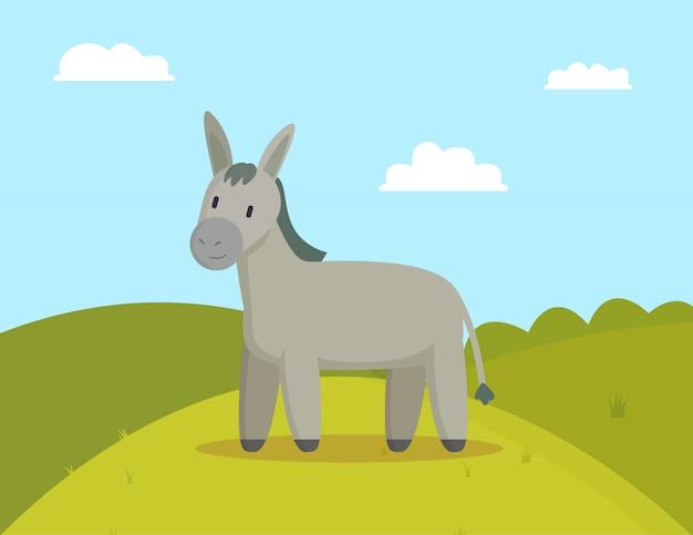 Burro farm animal pastar no prado ilustração colorida Vetor Premium