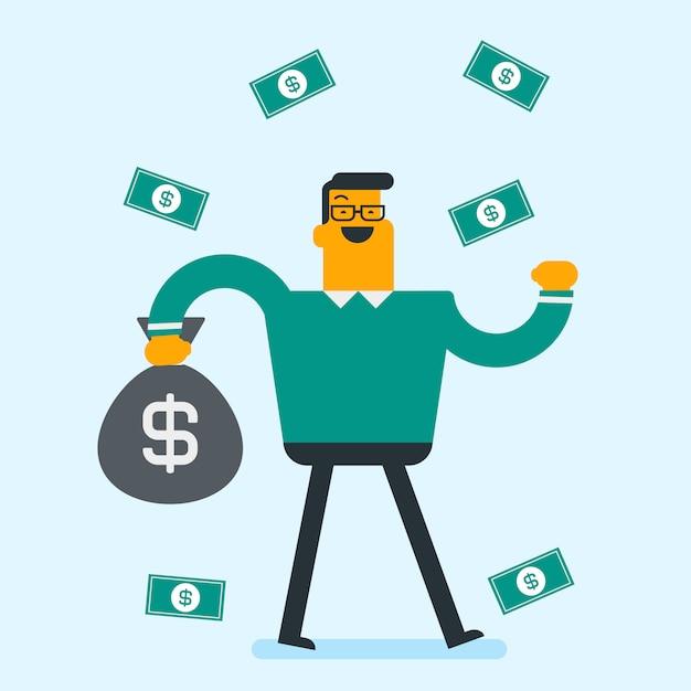 Busiessman branco caucasiano feliz sob chuva de dinheiro. Vetor Premium