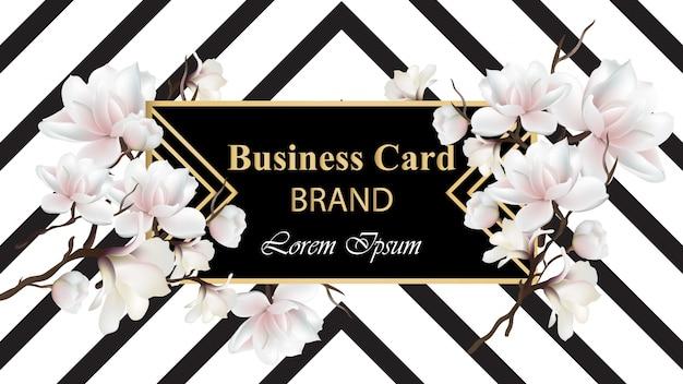 Business luxury card vector. design abstrato moderno com decoração floral. lugar para textos Vetor Premium