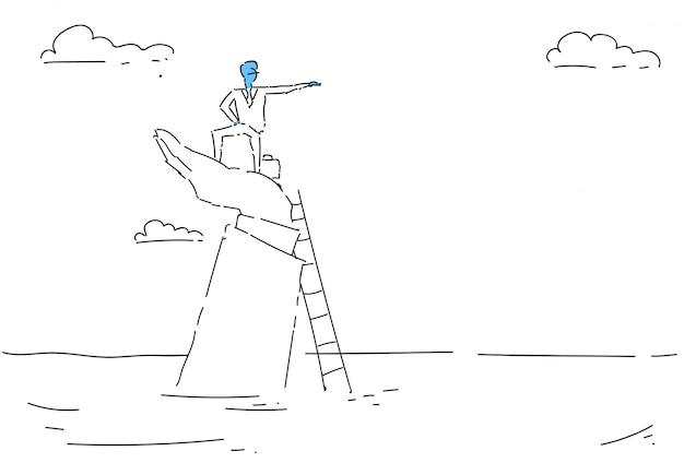 Business man climb ladder carreira oportunidade crescimento conceito finanças sucesso Vetor Premium