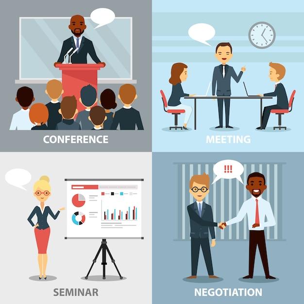 Business pofessionals presenting ideas coleção plana Vetor grátis