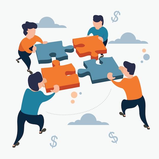 Business target team work puzzle estilo cartoon plana Vetor Premium