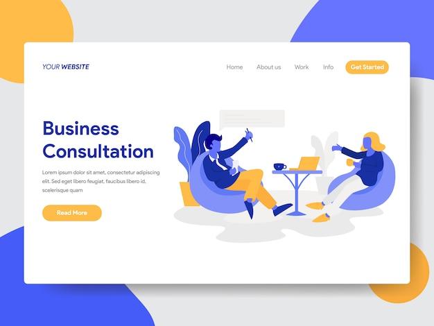 Businessman doing business consultation ilustração para a página do site Vetor Premium