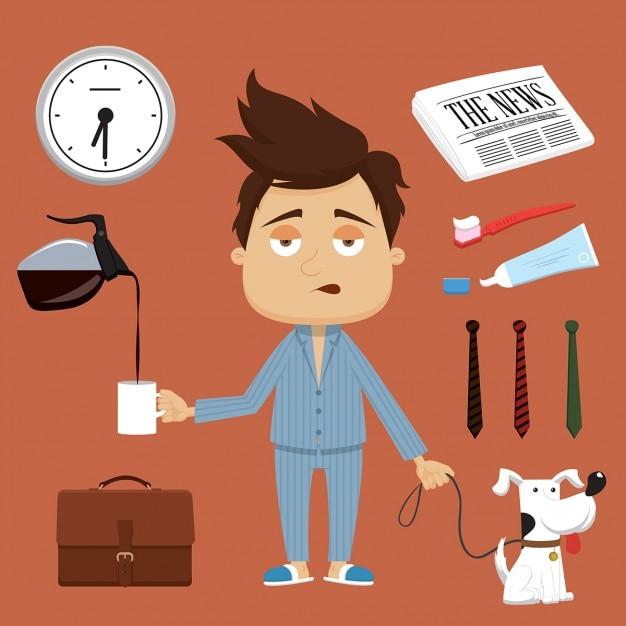 Businessmans ilustração manhã elementos do vetor e acessórios Vetor grátis