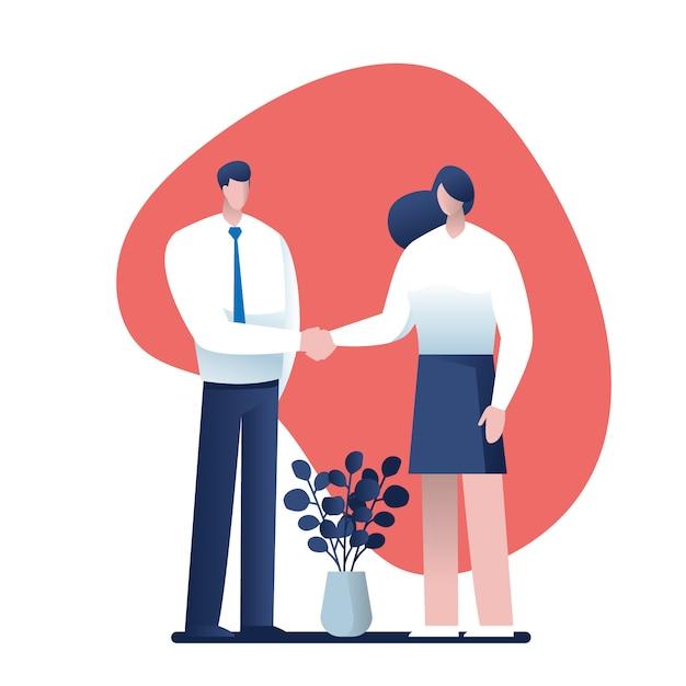 Businesss, e, escritório, conceito, -, dois homens negócios apertando mãos Vetor Premium