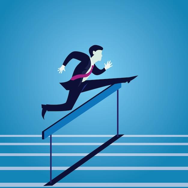 Busnissman salta sobre obstáculos obstáculos Vetor Premium
