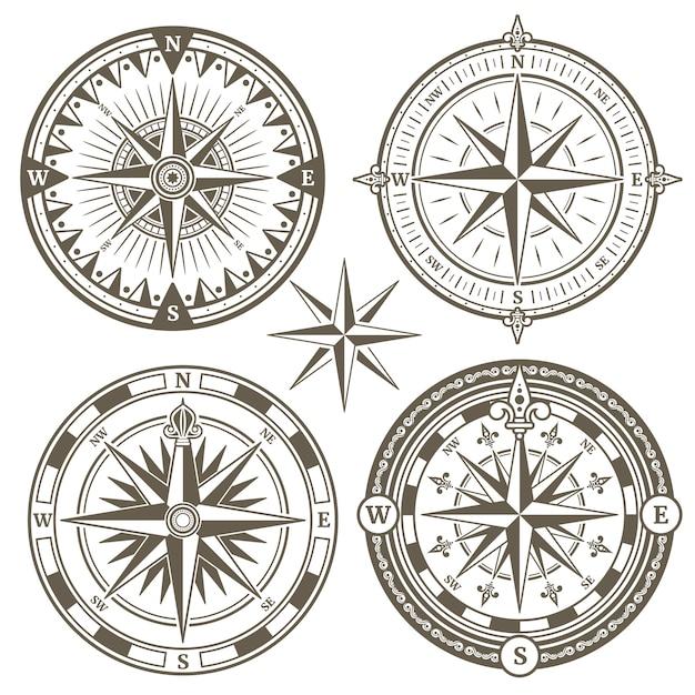 Bússola de navegação marinha antiga vela Vetor Premium