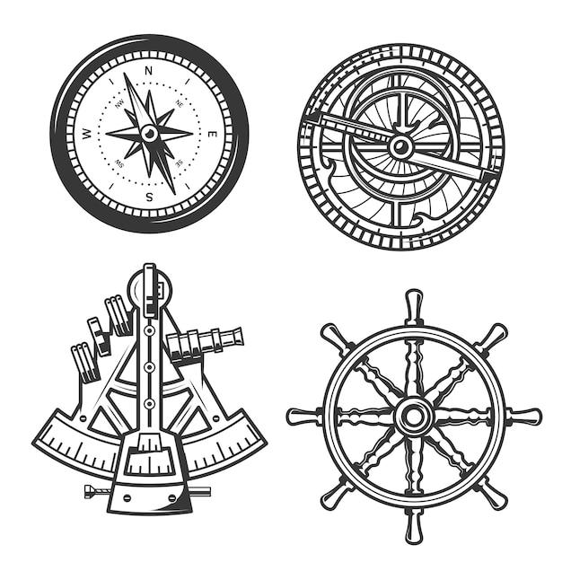 Bússola de navegação marítima, leme de navio e sextante Vetor Premium