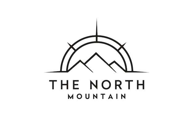 Bússola e montanha para viagem / aventura design de logotipo Vetor Premium