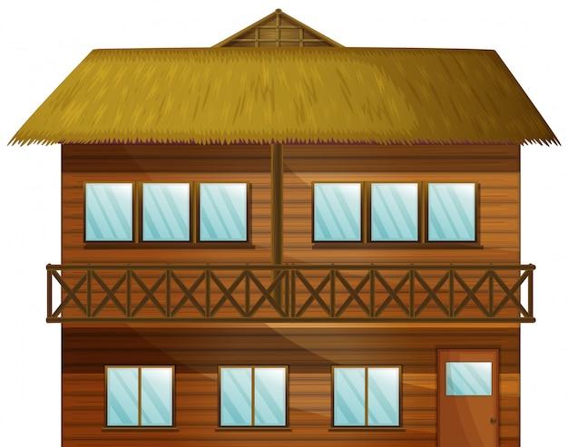 Cabana de madeira com muitas janelas Vetor grátis