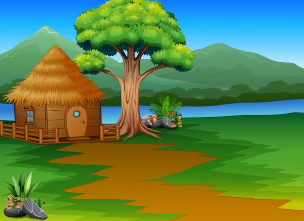 Cabana de madeira dos desenhos animados pelo rio com fundo de paisagem de montanhas Vetor Premium