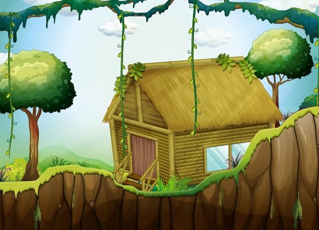 Cabana de madeira na floresta Vetor grátis