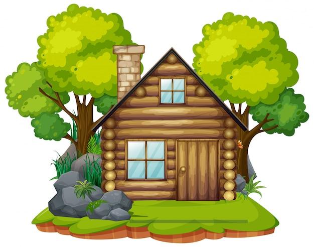 Cabana isolada na madeira Vetor grátis