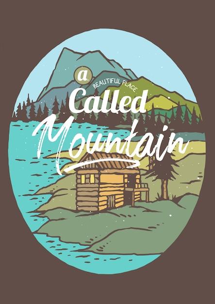 Cabana no lago e na montanha Vetor Premium