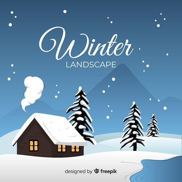 Cabana pelo fundo de inverno montanhas Vetor grátis