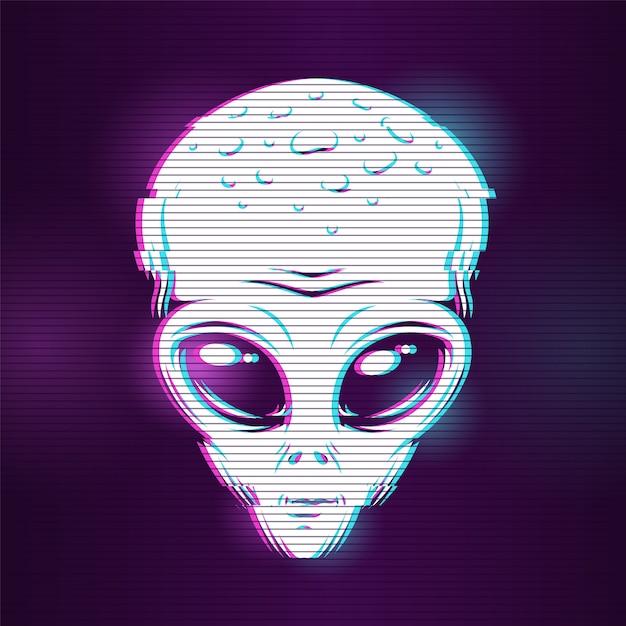 Cabeça alienígena com efeito de falha Vetor grátis