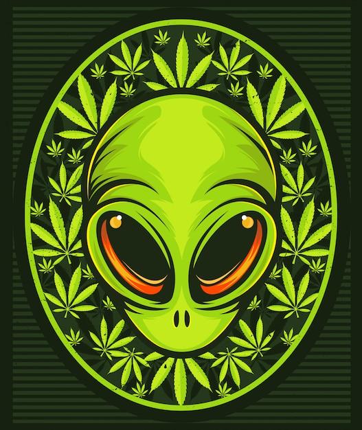 Cabeça alienígena com folhas de cannabis. Vetor Premium