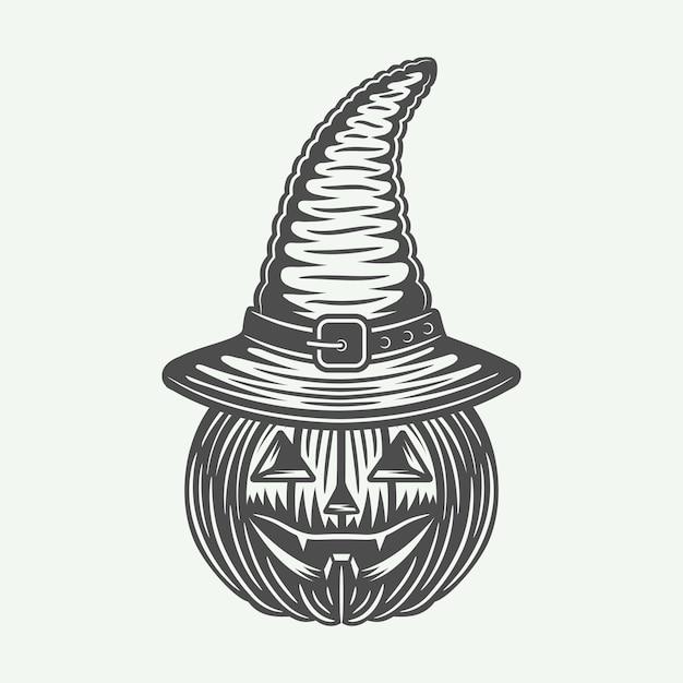 Cabeça de abóbora de halloween Vetor Premium