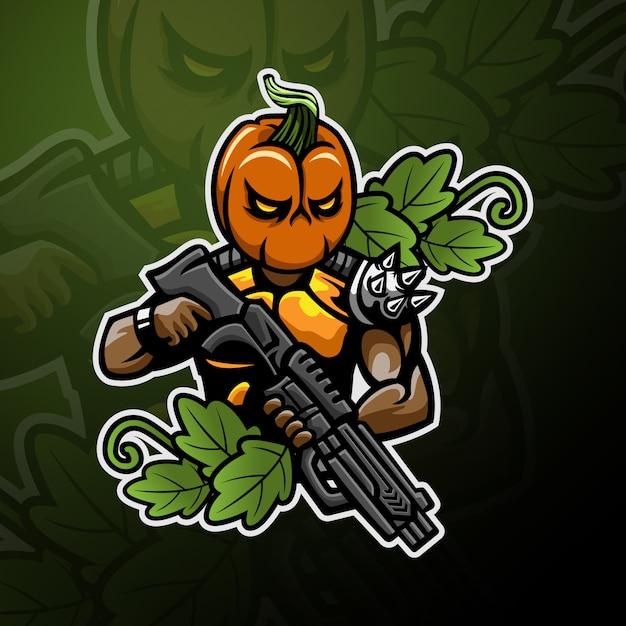 Cabeça de abóbora soldado logotipo jogos esport Vetor Premium
