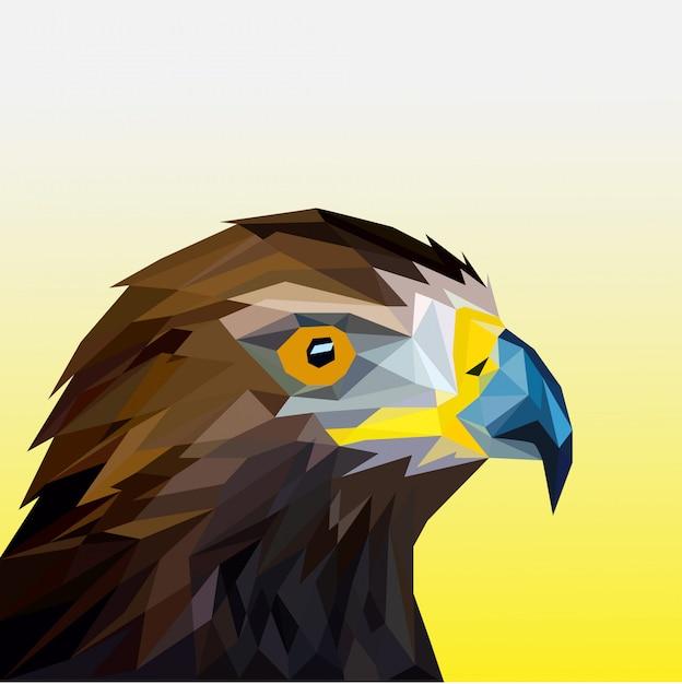 Cabeça de águia poligonal Vetor Premium