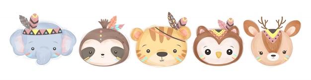 Cabeça de animais bebê na moda tribal Vetor Premium
