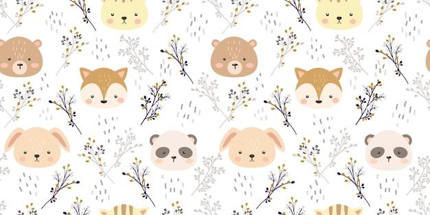 Cabeça de animal bonita e ilustração floral em padrão sem emenda Vetor Premium