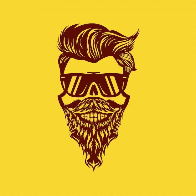 Cabeça de barba caveira incrível design ilustração Vetor Premium