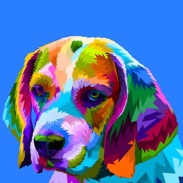 Cabeça de beagle colorido Vetor Premium