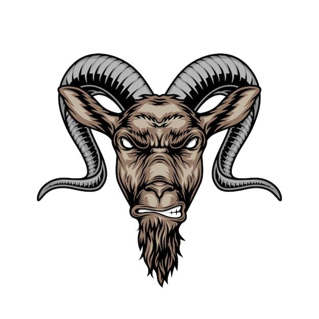 Cabeça de cabra com chifres com raiva colorida Vetor grátis