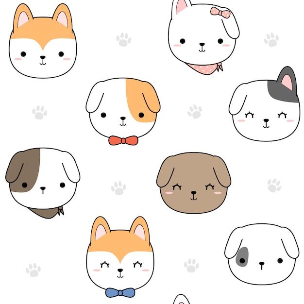 Cabeça de cachorro bonito cachorro e pata dos desenhos animados padrão sem emenda Vetor Premium