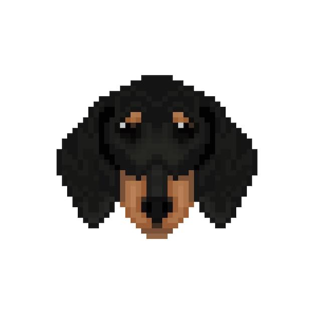Cabeça de cachorro dachshund em estilo de pixel art. Vetor Premium