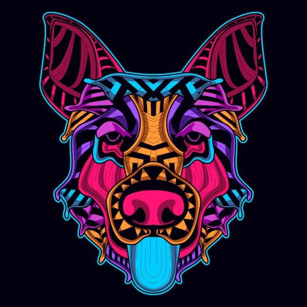 Cabeça de cachorro em estilo neon Vetor Premium