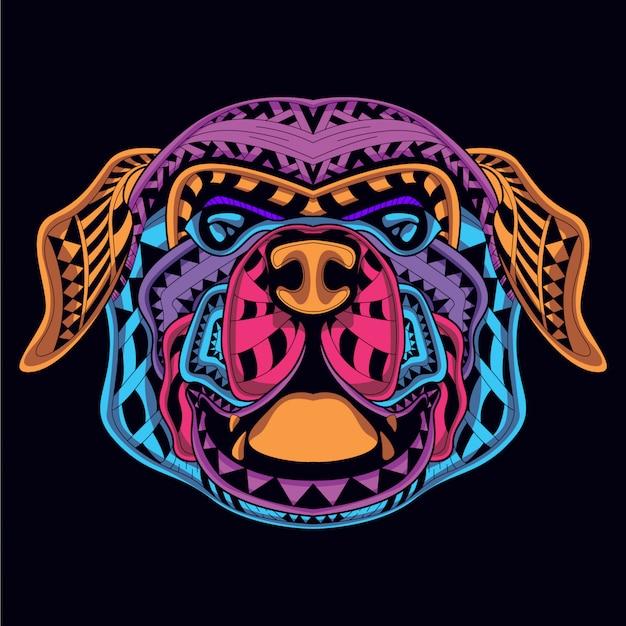 Cabeça de cão decorativa da cor neon Vetor Premium