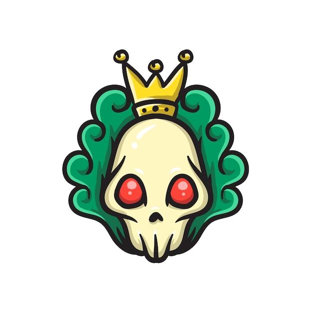 Cabeça de caveira com coroa do rei Vetor Premium