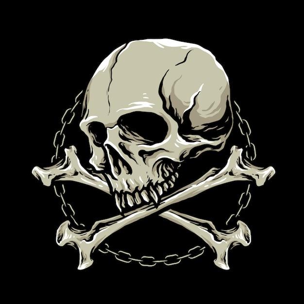 Cabeça de caveira com ossos cruzados Vetor Premium