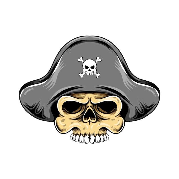 Cabeça de caveira de piratas com chapéu de piratas para inspiração do logotipo do grande navio Vetor Premium