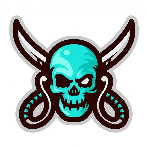 Cabeça de caveira pirata com ilustração em vetor mascote cruz espadas Vetor Premium
