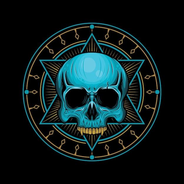 Cabeça de crânio com ilustração geométrica Vetor Premium
