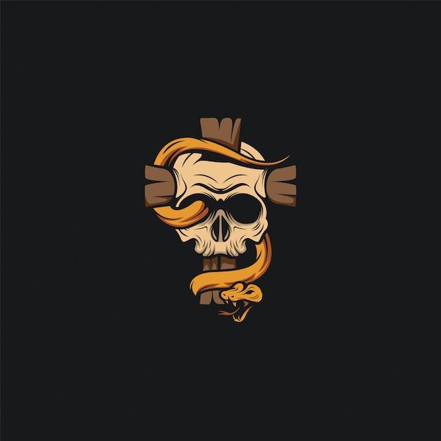 Cabeça de crânio design de logotipo ilustration Vetor Premium