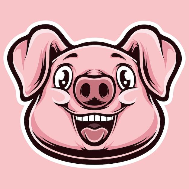 Cabeça de desenhos animados de porco pinky Vetor Premium