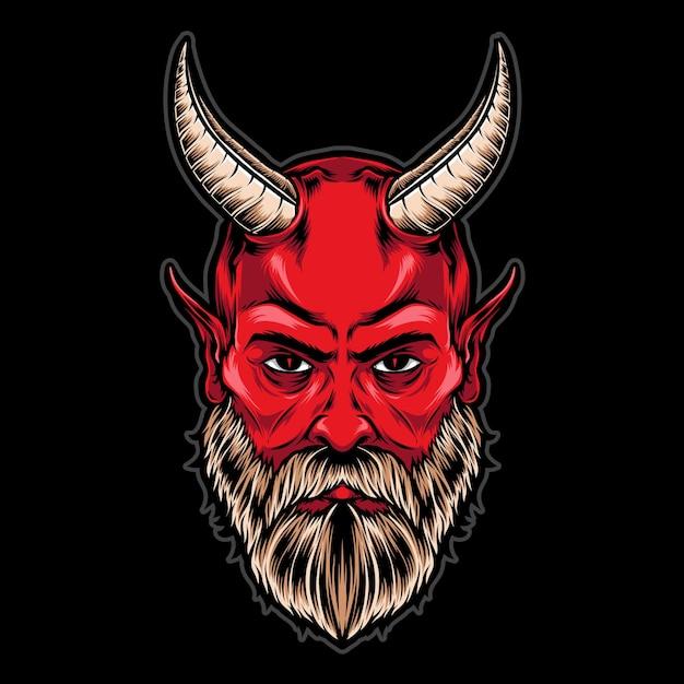 Cabeça de diabo com chifres Vetor Premium
