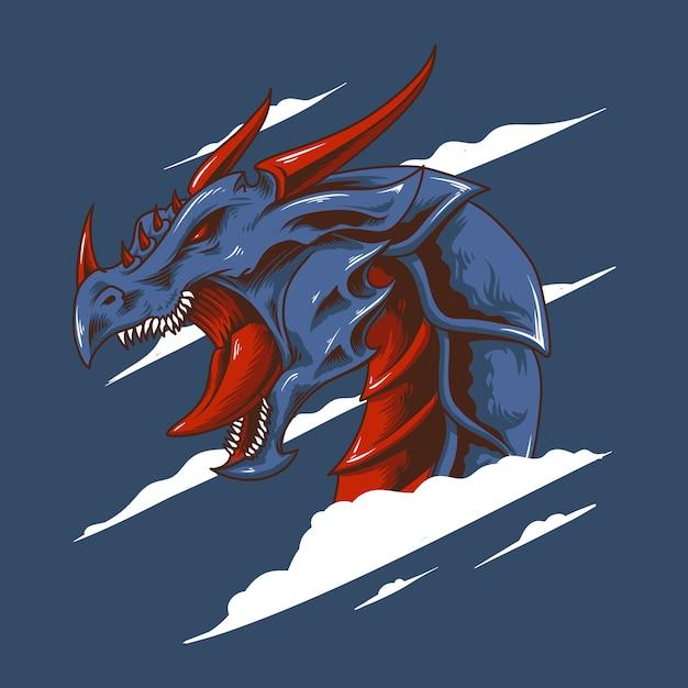 Cabeça de dragão Vetor Premium