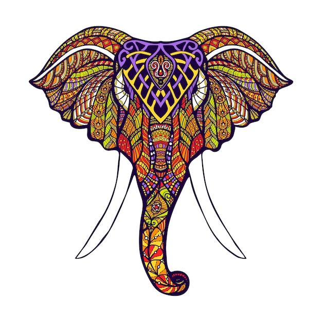 Cabeça de elefante colorido Vetor Premium