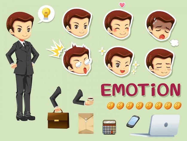 Cabeça de empresário e emoção Vetor Premium