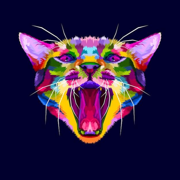 Cabeça de gato bravo colorido, o gato rosna, gato bravo close-up Vetor Premium