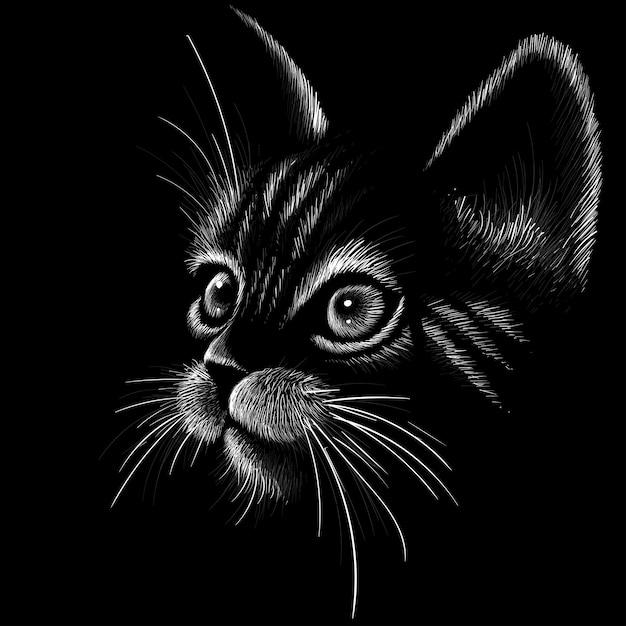 Cabeça de gato em estilo desenhado Vetor Premium