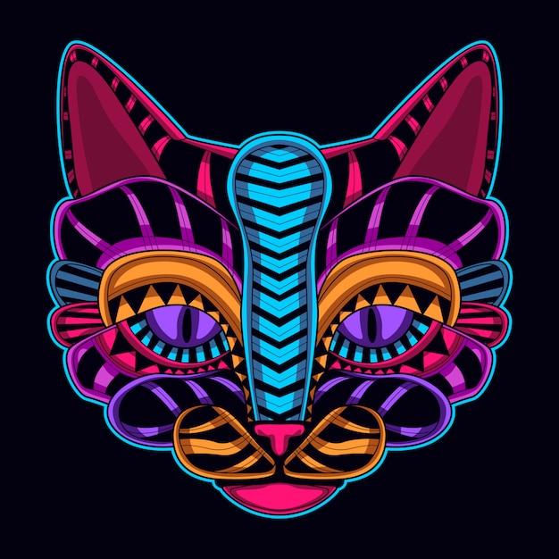 Cabeça de gato na cor neon Vetor Premium