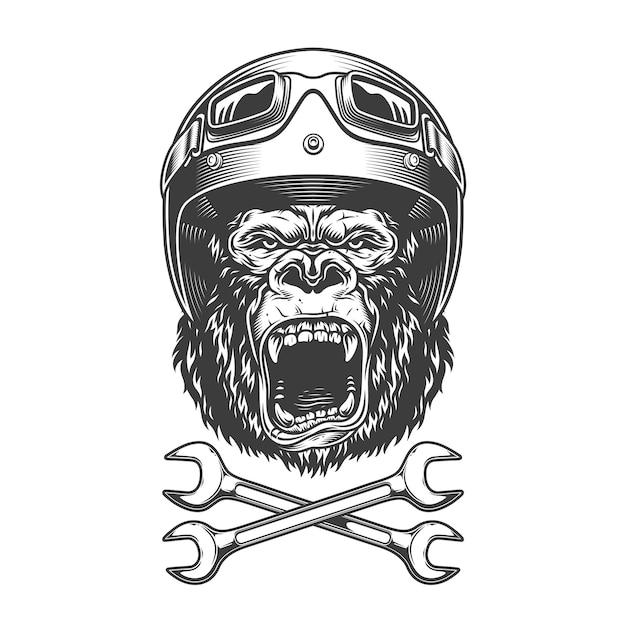 Cabeça de gorila bravo monocromático vintage Vetor grátis