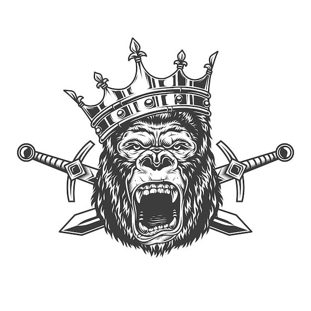 Cabeça de gorila bravo na coroa real Vetor grátis